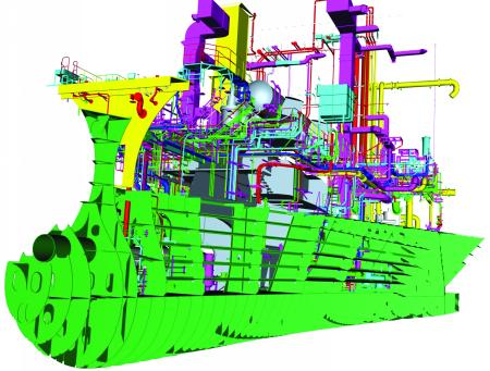 View of a small part of a ship's PIM created using the Tribon system